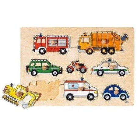 Drewniana układanka, motyw Pojazdy, Goki 57996