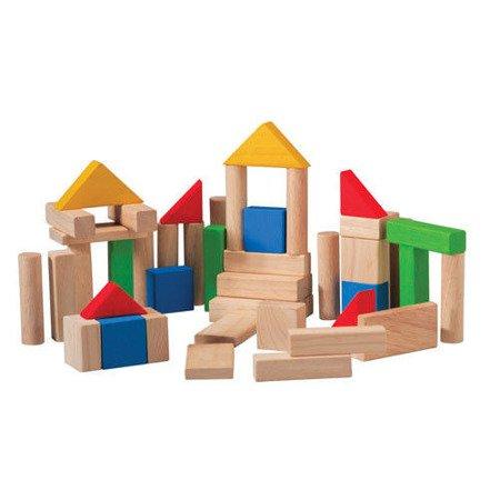 Drewniane klocki kolorowe (50 sztuk), Plan Toys PLTO-5535