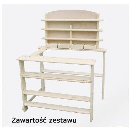 Drewniane stoisko sklepowe z półkami - zabawa w Sklep, Goki RA201