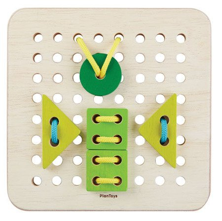 Drewniany zestaw do nauki sznurowania, Plan Toys