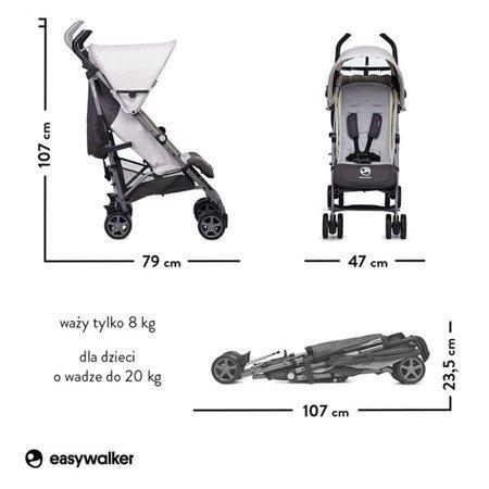 Easywalker Buggy+ Wózek spacerowy z osłonką przeciwdeszczową Silver Circle kolekcja 2018