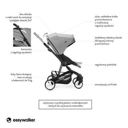 Easywalker Charley Wózek głęboko-spacerowy Cloud Grey (zawiera stelaż i siedzisko z budką)