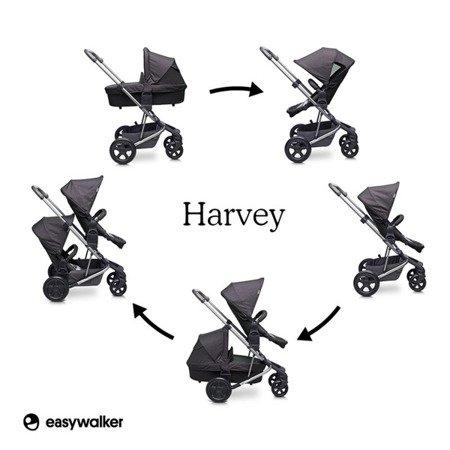 Easywalker Harvey Wózek głęboko-spacerowy Coal Black (zawiera stelaż, siedzisko z budką i pałąkiem)