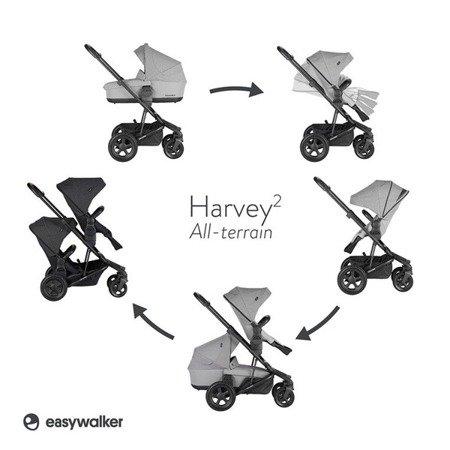 Easywalker Harvey2 All-Terrain Wózek głęboko-spacerowy Night Black (zawiera stelaż, siedzisko z budką i pałąkiem)