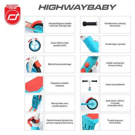 Highwaybaby 2w1 hulajnoga i rowerek 1+ Blue, Scootandride