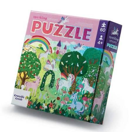 Holograficzne puzzle 60 el. Lśniący jednorożec
