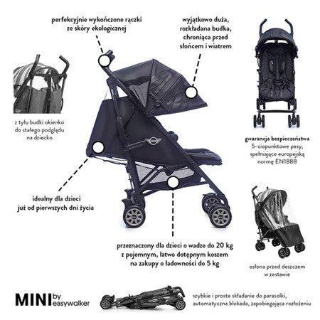 MINI by Easywalker Wózek spacerowy z osłonką przeciwdeszczową  6,5kg Midnight Jack