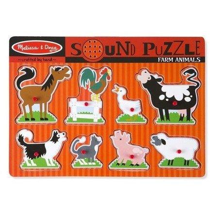 Melissa and Doug Puzzle Dźwiękowe Zwierzęta na Farmie 2+