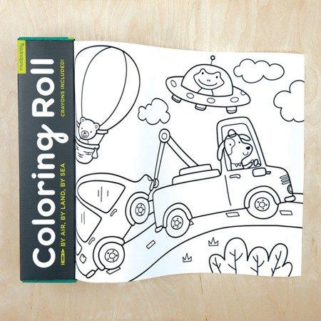 Mudpuppy Kolorowanka w rolce 3m z 6 kredkami Środki transportu
