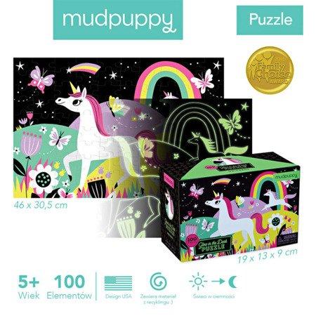 Mudpuppy Puzzle świecące w ciemności Jednorożce 100 elementów 5+