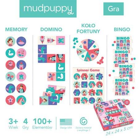Mudpuppy Zestaw 4 gier – Memo, Bingo, Domino i Koło fortuny Księżniczka