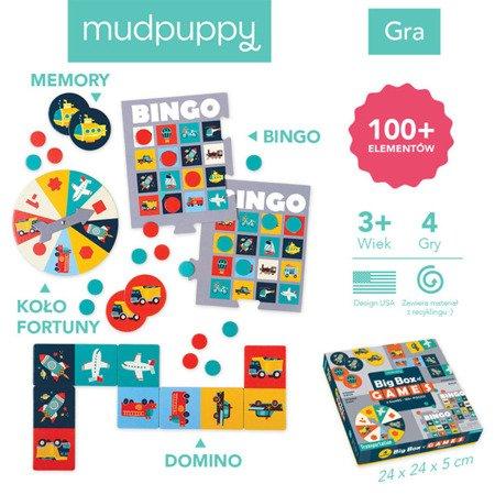 Mudpuppy Zestaw 4 gier – Memo, Bingo, Domino i Koło fortuny Transport