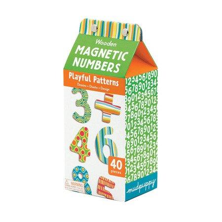 Mudpuppy Zestaw drewnianych magnesów w kolorowe wzory Liczby 40 elementów