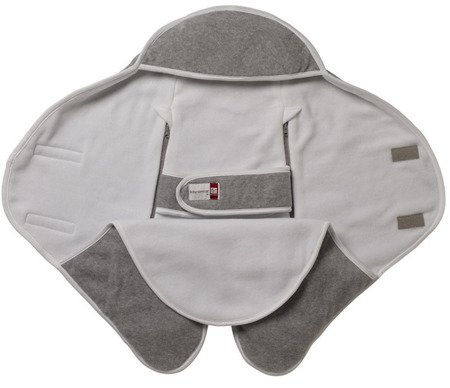 Otulacz rożek Babynomade 0-6m Double Fleece Light grey/ White Red Castle
