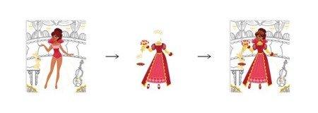Zeszyt - kołonotatnik kreatywny Pokaz mody Księżniczki i natura, Janod